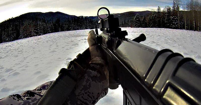 First-Person-Cz858-with-cmore-red dot-sight-in-winter-snow